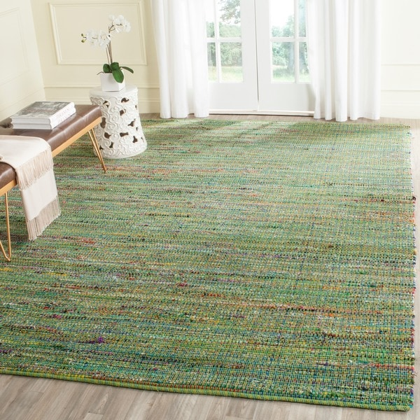 Safavieh Handmade Nantucket Green Multicolored Cotton Rug (8' x 10')