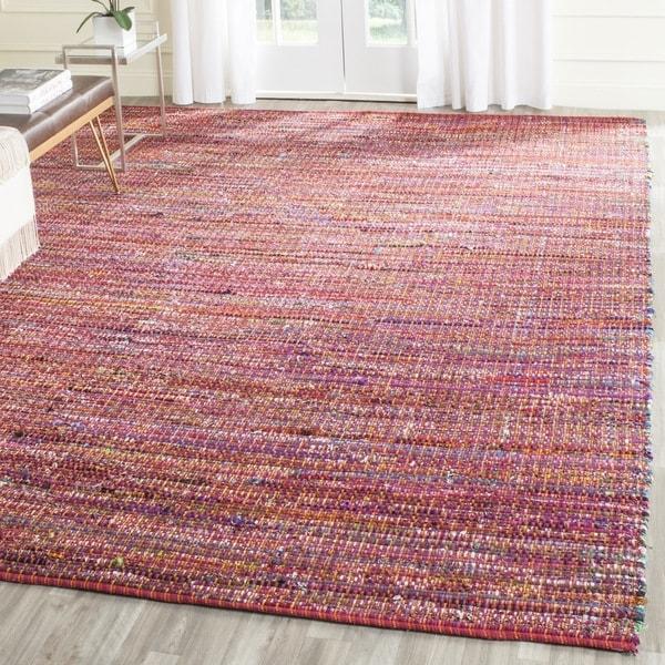 Safavieh Handmade Nantucket Red Multicolored Cotton Rug (8' x 10')