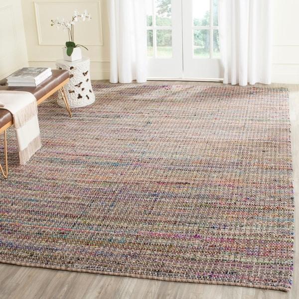 Safavieh Handmade Nantucket Beige Multicolored Cotton Rug - 8' x 10'
