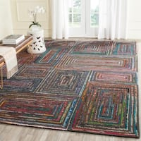 Safavieh Handmade Nantucket Modern Abstract Charcoal Cotton Rug - 8' x 10'