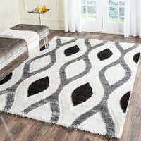 Safavieh Miami Shag Contemporary Silken-Embossed Ogee Ivory/ Grey Shag Rug - 8' x 10'