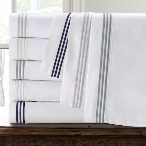 Echelon Home Three Line Hotel Collection Cotton Sateen Sheet Set with Pillowcase Separates