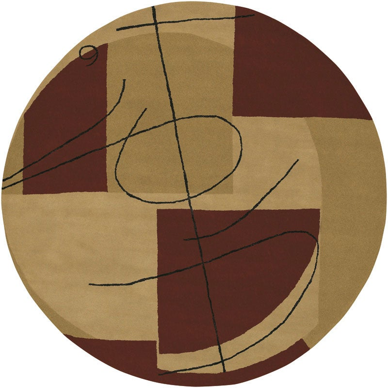 Hand-tufted Beige Contemporary Miro New Zealand Wool Abstract Rug (5'9 Round)