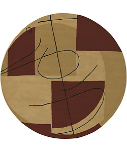 Hand-tufted Beige Contemporary Miro New Zealand Wool Abstract Area Rug (5'9 Round) - Thumbnail 0