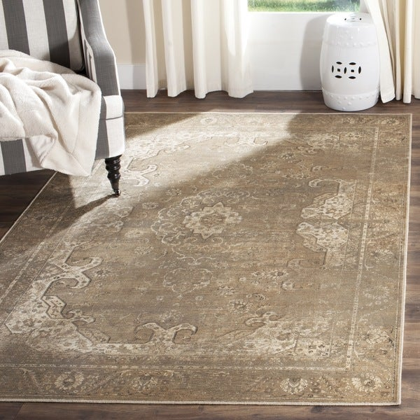 Safavieh Vintage Oriental Mouse Brown Distressed Silky Viscose Rug (8' x 11'2)