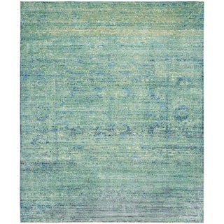 Safavieh Mystique Watercolor Green/ Multi Distressed Silky Polyester Rug (8' x 10')