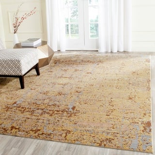 Safavieh Mystique Watercolor Gold/ Multi Distressed Silky Polyester Rug (8' x 10')