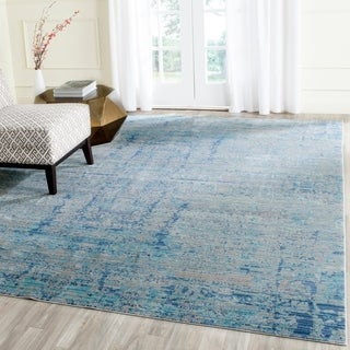 Safavieh Mystique Watercolor Light Blue/ Multi Distressed Silky Polyester Rug (8' x 10')