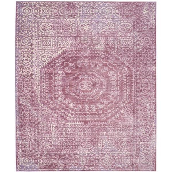 Safavieh Valencia Fuchsia/ Cream Center Medallion Distressed Silky Polyester Rug - 8' x 10'