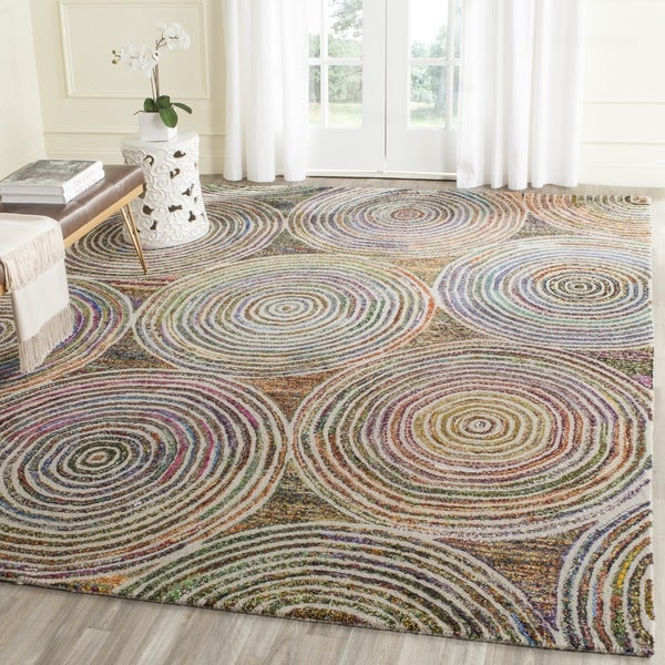 Safavieh Handmade Nantucket Modern Abstract Beige Cotton Rug - 9' x 12'