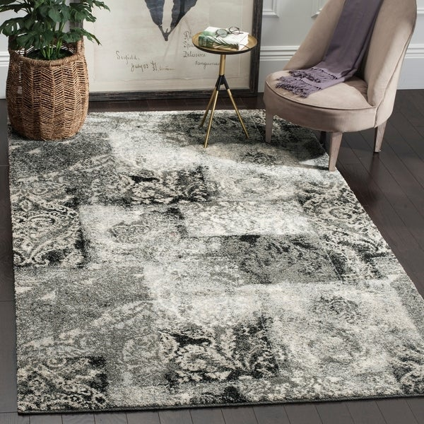 Safavieh Retro Modern Abstract Damask Cream/ Grey Distressed Rug - 8'9 x 12'