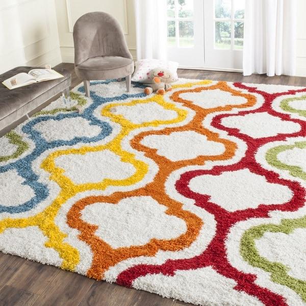 Safavieh Kids Shag Ivory/ Multi Rainbow Area Rug - 8'9 x 12'