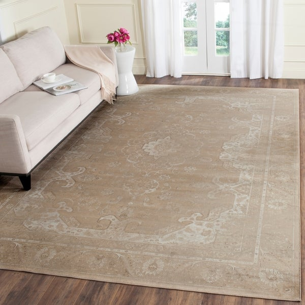 Safavieh Vintage Oriental Mouse Brown Distressed Silky Viscose Rug - 8'10 x 12'2