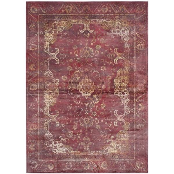 Safavieh Vintage Oriental Purple/ Fuchsia Distressed Silky Viscose Rug - 8'10 x 12'2
