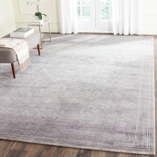 Safavieh Passion Watercolor Vintage Grey / Lavender Distressed Rug (9' x 12')