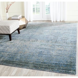Safavieh Mystique Watercolor Serene Blue/ Multi Distressed Silky Polyester Rug (9' x 12')