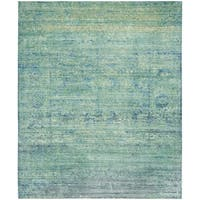 Safavieh Mystique Watercolor Green/ Multi Silky Rug (9' x 12')