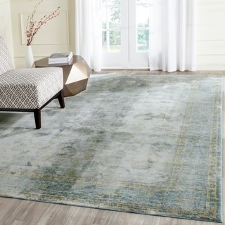 Safavieh Valencia Light Blue/ Turquoise Distressed Silky Polyester Rug (9' x 12')