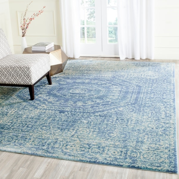 Safavieh Valencia Blue/ Multi Center Medallion Distressed Silky Polyester Rug - 9' x 12'