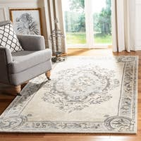 Safavieh Handmade Empire Beige/ Light Grey Wool Rug - 9'6 x 13'6