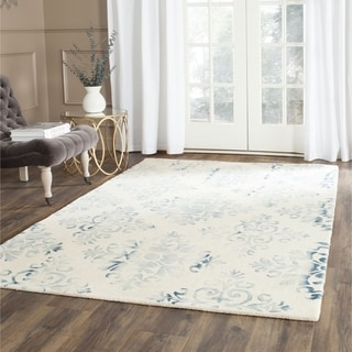 Safavieh Handmade Dip Dye Watercolor Vintage Ivory/ Light Blue Wool Rug (2' x 3')