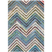 Safavieh Handmade Nantucket Abstract Chevron Beige/ Blue Cotton Rug - 2' x 3'