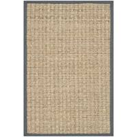 Safavieh Casual Natural Fiber Hand-Woven Natural / Dark Grey Seagrass Rug - 2' X 3'