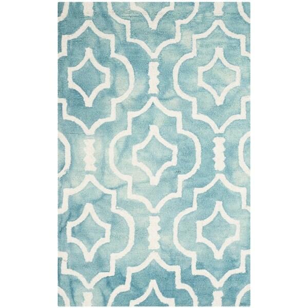 Safavieh Handmade Dip Dye Watercolor Vintage Turquoise/ Ivory Wool Rug - 2' x 3'