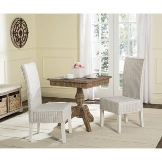 Safavieh Rural Woven Dining Arjun White Wicker Side Chairs (Set of 2)