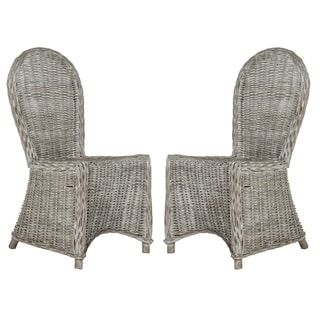 "Link to Safavieh Dining Idola White Washed Dining Chairs (Set of 2) - 19.5"" x 26"" x 40.5"" Similar Items in Dining Room & Bar Furniture"