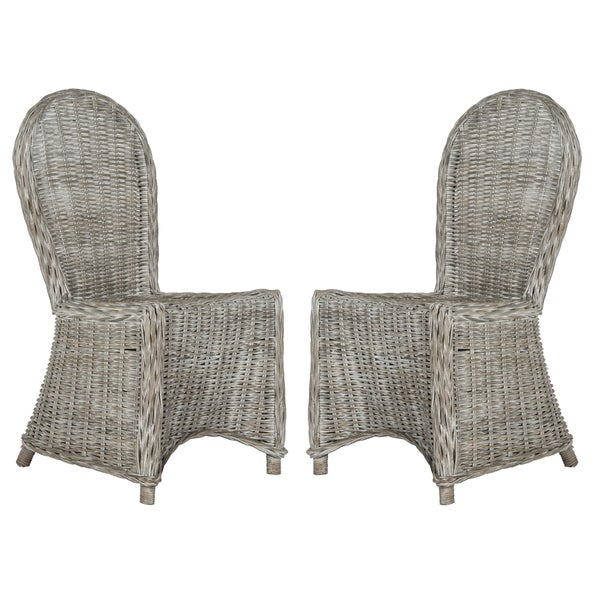 """SAFAVIEH Dining Idola White Washed Dining Chairs (Set of 2) - 19.5"""" x 26"""" x 40.5"""". Opens flyout."""