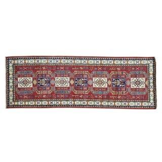 Runner Handmade Pure Wool Red Super Kazak Oriental Rug (2'10 x 8'2)