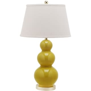 Safavieh Lighting 27-inch Pamela Mustard Gold Triple Gourd Ceramic Table Lamp