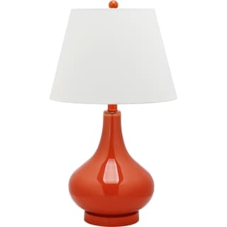 Safavieh Lighting 24-inch Amy Blood Orange Gourd Glass Table Lamp