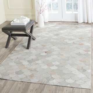 Safavieh Hand-woven Studio Leather Modern Ivory/ Grey Rug (2'3 x 7')