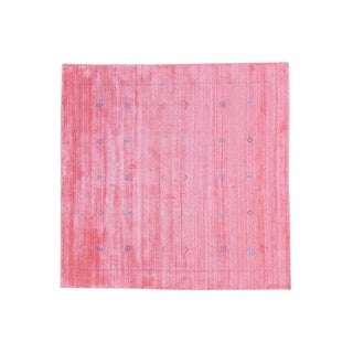 Square Modern Wool and Rayon from Bamboo Silk Loomed Gabbeh Rug - 6' x 6'2