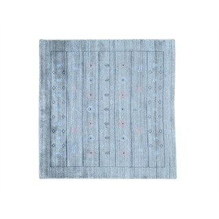 Square Silver Loomed Modern Gabbeh Wool and Rayon from Bamboo Silk Rug (5' x 5')