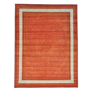 Orange Tabriz Mahi Wool and Silk Hand-knotted Oriental Rug (9'1 x 12')