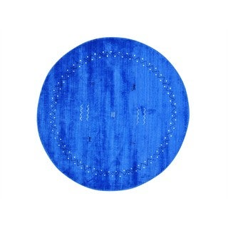 Round Loomed Modern Gabbeh Wool and Rayon from Bamboo Silk Oriental Rug - 6' x 6'
