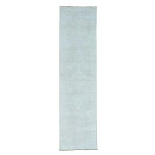 Handmade Silver Wash Oushak Runner Pure Wool Oriental Rug (2'6 x 9'8)