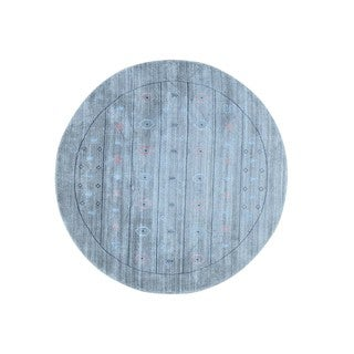 Round Loomed Modern Gabbeh Wool and Rayon from Bamboo Silk Rug (6'2 x 6'2)