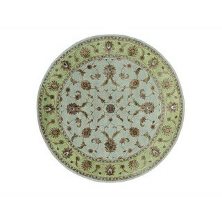Round Rajasthan Wool and Silk Hand-knotted Oriental Rug (8' x 8')