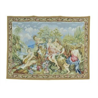 Wall Hanging Aubusson Tapestry Handmade Flat Weave (5'4 x 7')