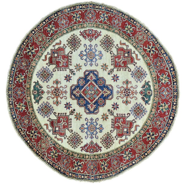 Shop Round Super Kazak Hand Knotted 100 Percent Wool