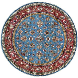 Round 100 Percent Wool Super Kazak Handmade Oriental Rug (6'7 x 6'7)