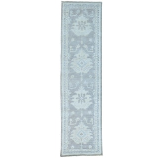 Hand-knotted Pure Wool Taupe Stone Wash Runner Oushak Rug (2'7 x 9'8)