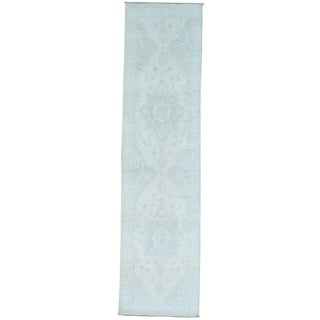 Handmade Pure Wool Silver Wash Runner Sky Blue Oushak Rug (2'6 x 8'6)