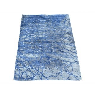 Abstract Design Modern Hand-knotted Rayon from Bamboo Silk Oriental Rug (2' x 3')