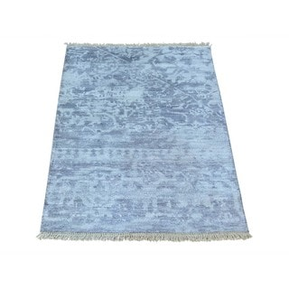 Hand-knotted Broken Design Silver Modern Rayon from Bamboo Silk Rug (2' x 3')