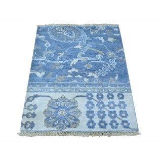 Hand-knotted Wool and Rayon from Bamboo Silk Oushak Oriental Rug (2'2 x 3')